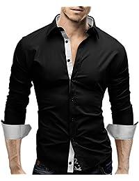 MERISH Slim Fit chemise homme, longue chemise décontractée avec des contrastes de couleurs style unique Modell 63