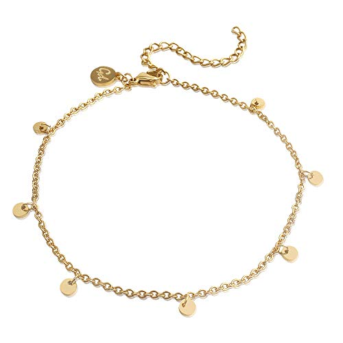 Good.Designs ® Goldene Damen Fußkettchen (verstellbar) Fuß Kette mit Plättchen | Goldfarbene Fußkette goldige goldenefußkette fußkettegold goldenesfußkettchen