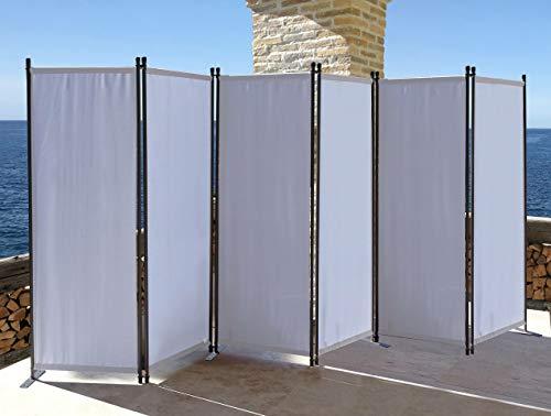 QUICK STAR Paravent 6 Teilig 340x165cm Stoff Raumteiler Garten Trennwand Balkon Sichtschutz Stellwand Faltbar Weiß