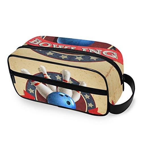 LZXO Kosmetiktasche zum Aufhängen, Sport, Bowlingkugel-Muster, Reisetasche, Kosmetiktasche, Kosmetiktasche, Kosmetiktasche für Herren und Frauen