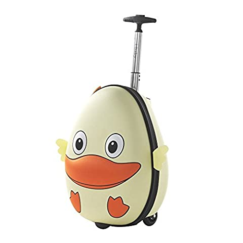 i-baby Kinderkoffer Kindergepäck Kinder Gepäck Koffer Rollen Schultaschen Hartschalenkoffer Reisekoffer Kinder trolley Reise für Jungen Mädchen Hellgelbe Ente