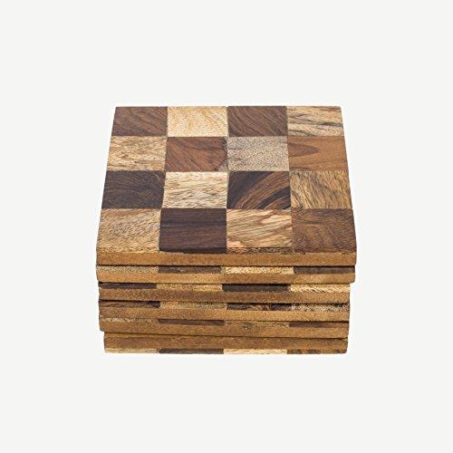 Rusticity Holz Untersetzer Set von 6-quadratisch Design | handgefertigt | (9,4x 9,4cm) -
