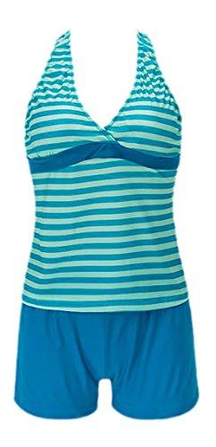 Frieda Fashion - Damen Gestreifter Tankini, S-XL, Viele Farben Blau