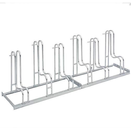 Fahrradständer Standparker 4056 | 6 Fahrrad Stellplätze | einseitig | Stahl verzinkt | Sicherer Radständer auch für Mountainbikes | Fahrradparker Bodenparker Bügelparker