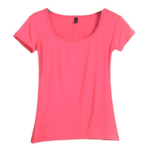 QIYUN.Z Les Femmes D'ete a Manches Courtes Couleur Unie O Encolure Creux Mince Tee Shirt Pasteque rouge