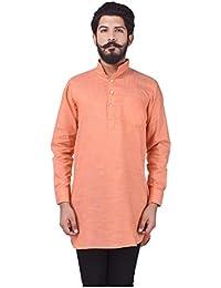Veera Paridhaan Men's Party Wear Cotton Orange Solid Pattern Kurta