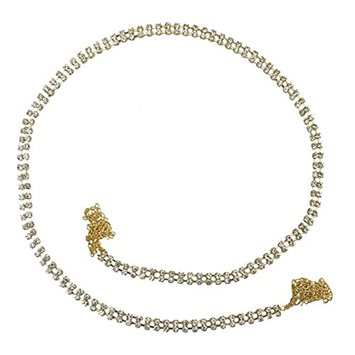 PCM Kamar Bandh Gold Plated Two Line CZ kamarbandh Belly Chain  available at amazon for Rs.199