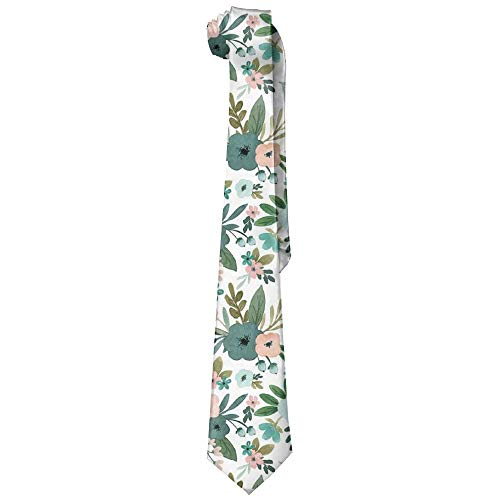 es Pink And Teal Tiny Flower(8792) Man's Wide Necktie Silk With Skinny Tie Print Necktie Great For Weddings,Groom,Groomsmen,Missions,Dances,Gifts ()