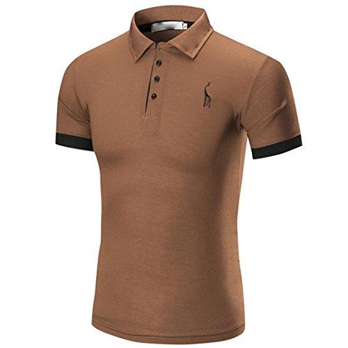 [M-2XL], Yogogo T-Shirt Herren Sommer Geschäft Premium Poloshirt Kurzarm Shirt V-Ausschnitt T-Shirt Sport Muskelshirt Crop Tops Oberteile Basic Tops Herren Slim Fit Regular Fit T-Shirt (M, Braun) (Premium-basic-hose)