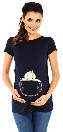 Zeta Ville - Shirt Camiseta Premamá estampado bebé asomándose para mujer - 501c (Armada, EU 46/50, 3XL)