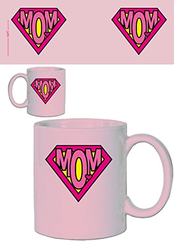 Set: festa della mamma, super mom, logo rosa tazza da caffè mug (9x8 cm) e 1 tazza sorpresa