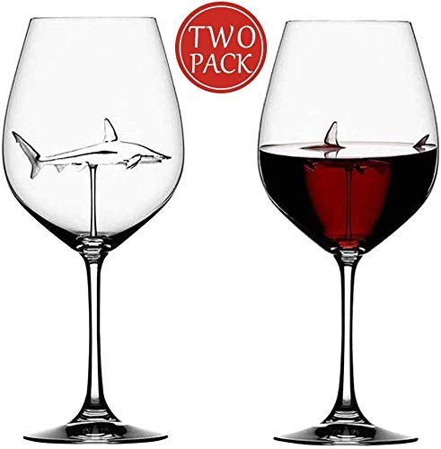 Creative Goblet Glass Mug Shark Wine Glass Goblets,Italian Lead-Free Crystal Wine Glasses for Cold Drink/Champagne/Cocktail/Whiskey, Halloween/Bars/Christmas/Home/Party Handmade Crystal Flutes