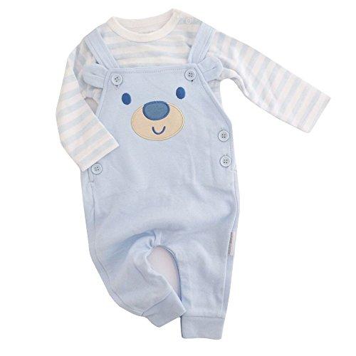 NEU   Set Bär hellblau weiß mit Body und Strampler Latzhose   50 56 62 68 Newborn (50/56)