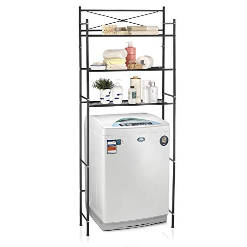 CARO-Möbel Toilettenregal MARSA Waschmaschinenregal Badezimmerregal Bad WC Stand Regal mit 3 Ablagen in schwarz