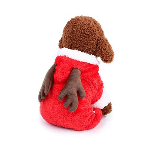 mama stadt Weihnachten Hundekleidung Hundemantel Cosplay Kostüm Mit Kapuze für Kleine Hunde,Roter ()