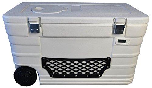 Livitat® Kühlbox Eisbox Kühltasche mit Thermometer und Rollen Weiß Liter 55 Liter