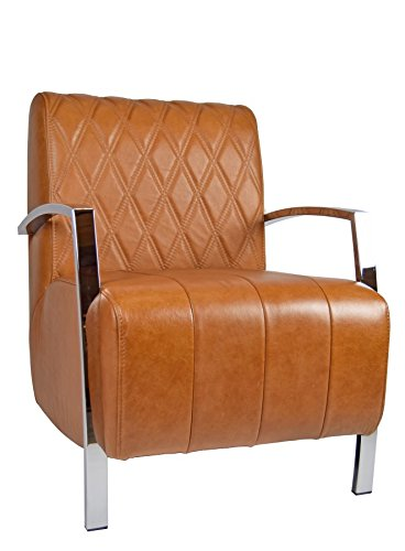 Modern Retro Clubsessel Stitch Cognac Vintage Echtleder Loungsessel Ledersessel Art Deco
