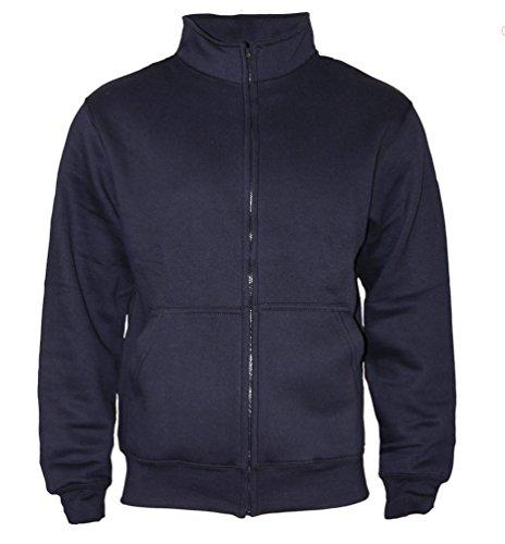 ROCK-IT Apparel® Sweaterjacke Herren ohne Kapuze Pullover Männer Zipper Jacke mit Stehkragen und Reißverschluss Fleece-Innenseite Farbe Navy X-Large -