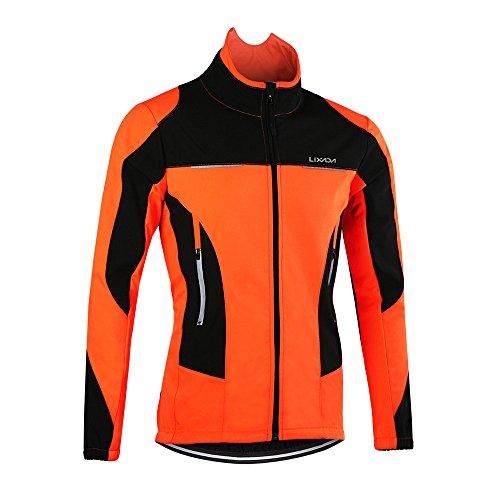 Lixada Radjacke Männer Langarm Mantel Wasserabweisend Winterthermal Fahrradhose Lang Herren Draussen Mit Gepolstert Kissen- Gr. 2XL=1.85-1.90cm,80-90kg, Orange Jacke