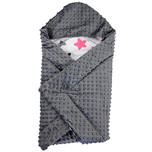 TupTam Baby Winter Einschlagdecke für Babyschale Wattiert, Farbe: Sterne Rosa/Schwarz, Größe: ca. 75 x 75 cm (Rosa Und Schwarz Winter Jacke)