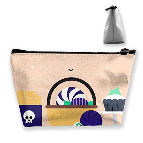 Cartoon Halloween Women Makeup Bags Multifunktions-Kulturbeutel Organizer Travel Wash Lagerung (Trapez) (Claire Zubehör Halloween)