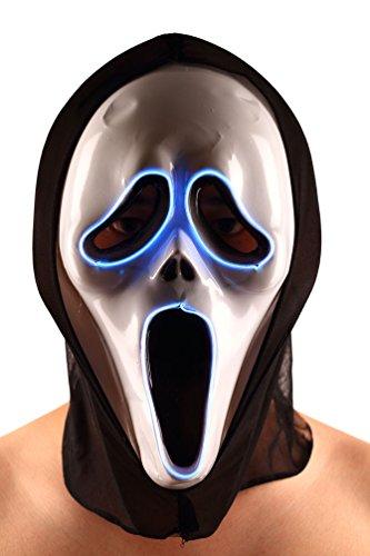 Brinny EL Wire Drahtmaske Leuchten Maske LED Leucht Leuchtmaske Make Up Partymaske mit Batterie Box Kostüme Mask Weihnachten Tanzen Party Nacht Pub Bar Klub (Kostüm Make Up Guy)