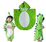 SHANF Süßes Dinosaurier Muster Badetuch mit Kapuze Bademäntel Beach Schwimmen Handtuch Poncho Kinder (grün)