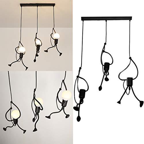 Retro-moderne-tapete (Yazidan Moderne reizend Retro hängende Leuchter-kreative Eisen-Menschen-Lampen-eleganter Aufhänger Metall Kronleuchter Pendelleuchte Deckenlampe Prägnant Lüster)