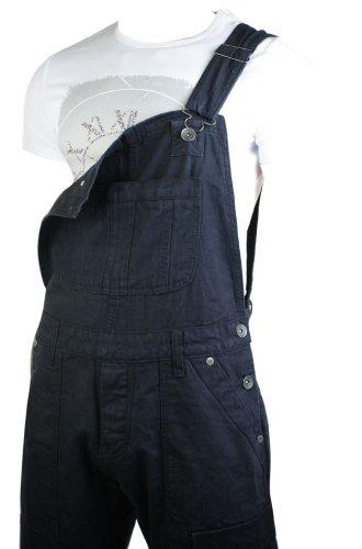 Herrenlatzhose Jeans Umschlahend Schwarz Combat Taschen Design Lässig Schwarz