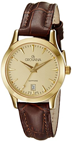 GROVANA 3201.1511 Women's Quartz Swiss Watch with Gold Dial Analogue Display and Brown Leather Strap