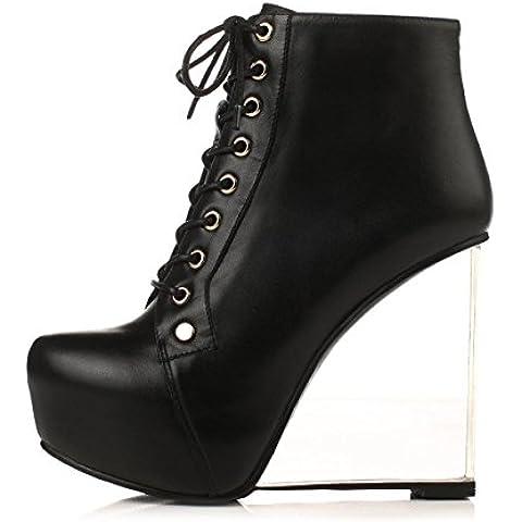 WSS In pelle tacco alto scarpe con piattaforma trasparente stivali con locali notturni personalità testa tonda . black . 36