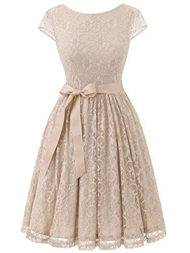 IVNIS Damen Vintage Spitzen V Rücken Kurze Brautjungfern Party Kleid Abschlussballkleider Cap Ärmeln RS90033-Champagne 2XL Brautjungfernkleider Pastell