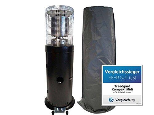 Traedgard® Gas-Heizstrahler Kompakt Midi Schwarz | Höhe 142 cm | mit Transportrollen, Schutzhülle, Gasschlauch und Gasdruckregler | 12 kW Heizleistung |