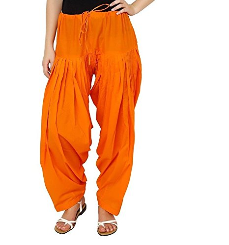 Kalpit Creations Women's Patiala Bottoms(kalpit_semi-patiyala _Orange_Free Size)