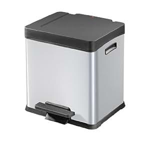 Hailo 0624-210 Design-Tret-Abfalltrenner S-Box 2 x 12, silber