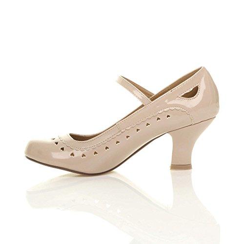 Damen Herzmuster Mary Jane Mittlerer Hohe Absatz Ausschneiden Pumps Klassisch Schuhe Größe Hautfarbenes Glanzleder