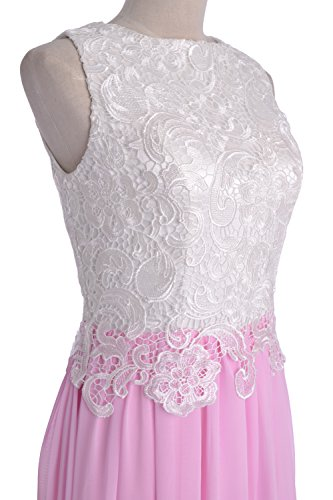 MACloth Women Lace Chiffon Long Prom Dress Wedding Party Bridesmaid Formal Gown Gold
