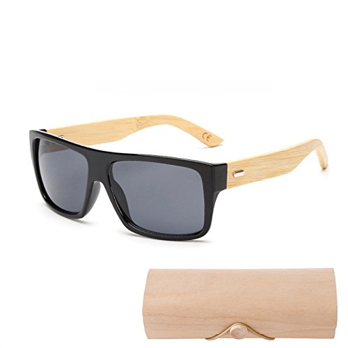 YLYZJH Holz Bambus Sonnenbrille Männer Frauen Gespiegelt UV400 Sonnenbrille Shades Gold Blau Outdoor Brille Sunglases Männlich