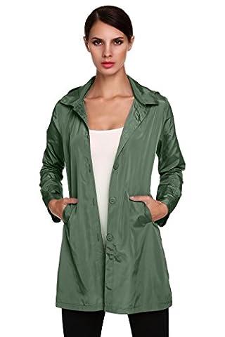 CRAVOG Mode Femme Trenche Parka A Capuche Manteau De Pluie Imperméable Femme Jacket Longue Raincoat Avec