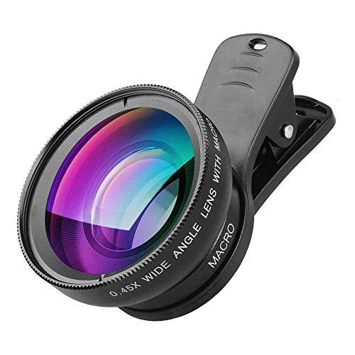 LiangTing 0,45 x Super Weitwinkel-Handy-Kamera-Objektiv, 2 in 1 Clip-on-Objektiv-Set für iPhone, Samsung, Pixel, Makro und Weitwinkelobjektiv