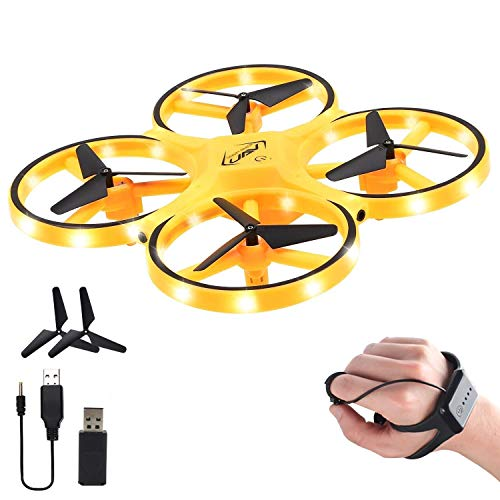 AROHA Drone for Kids, 2.4G V2 Gravity Sensor RC Nano Quadcopter with Infrared Obstacle Avoidance, Hand Control Helicopter, Throw to Fly,3D Flips & Cool Light, Boys Girls Gift Toys (Yellow)