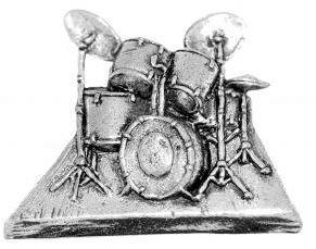 Zinn-Anstecker mit Musik-Design, Schlagzeug