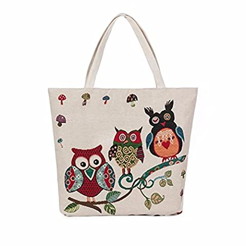 Kolylong Women Shopping Bag Handbags lovely Owl Printed Canvas Tote Casual Bags (A)