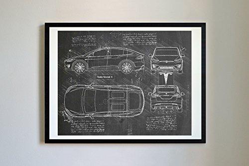 DolanPaperCo 261Tesla Modell X 2016Kunstdruck, da Vinci Sketch, ungerahmt, Mehrere Größe/Farbe, für (16x 20, Tafel)