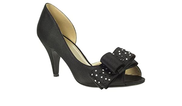 86fb4b154a8 Barratts Womens Black Satin Mid Heel Peep Toe Bow Trim Court Shoes Size 4   Amazon.co.uk  Shoes   Bags