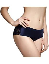 Dames Lingerie Sexy Soie et Dentelle Culottes Cami Knickers Pearlisé Bleu Taille 38 - 40