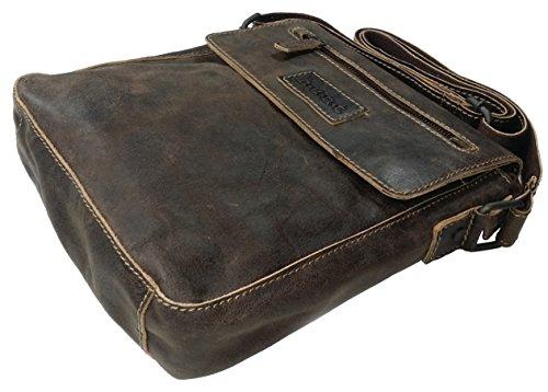 Hunt Handtasche Umhängetasche Ledertasche Messenger Bag Tasche Herren Echtes Leder OR198JBP32 (Dunkelbraun) Dunkelbraun