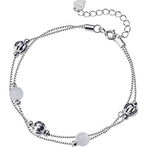 Katylen Women's Western Mode Armband S925 Silber Armband Weibliche Kleine Frische Doppel Synthetische Weiße Katze Augen Einfache Perlen Hand Schmuck, S925 ()