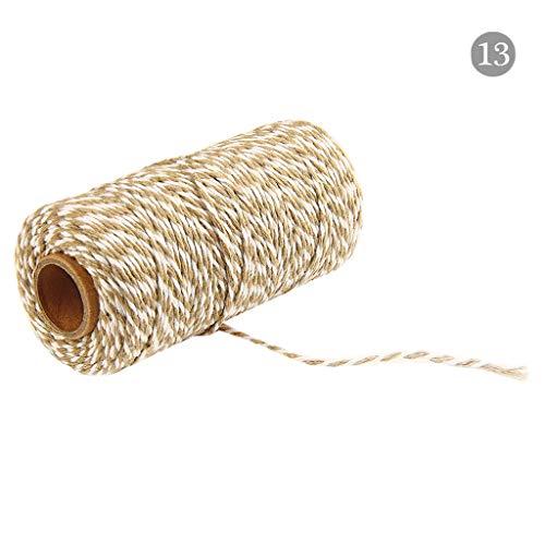 Y56 2mm Durchmesser 100m lang Zwei Farben Natur Baumwollseil Baumwollkordel Rolle Baumwolle Bakers Twine Seil rustikale Land Handwerk handgemachte Accessoires (N) -