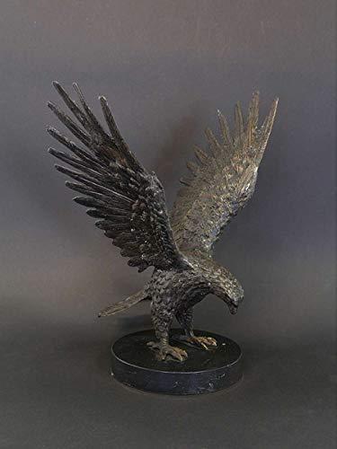 Antike Fundgrube Bronze Figur Skulptur Adler Greifvogel auf Marmorsockel dekorativ H: 33 cm (8944)